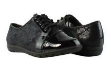 NEW SOFT STYLE $60 Black Paisley Print Cap Toe Lace Up Shoe Women 7W HSS1276-005