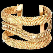 "2"" Huge Pave Crystal Cz Mesh Swirl Bangle Cuff Statement Bracelet Gold Plated"