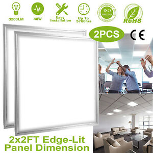 2Packs 48W Panel LED Ceiling Light Recessed Drop Flat Light Troffer Home Fixture