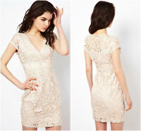 Lipsy Lace Pencil Dress 10 Cream Ivory Sexy Plunge Evening Party Wedding Summer