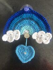 "🌈❤️Hand crochet Blue Rainbow ""A Family's Love is forever"" heart Sequin Boy Gift"