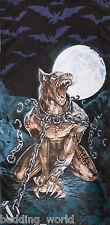 Loups garou serviette de plage alchemy gothic loup-garou loup crânes lune chauves-souris bleu noir