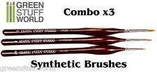 Pinceles Modelismo COMBOx3 - SINTETICO - Ergonomicos - Acrilico y Oleo