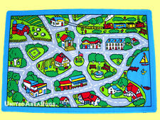 5x7 Kids Area Rug Play Road Driving Time  Street Car Map City Fun Time  New Gray