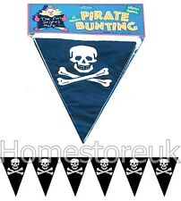6M 15 FLAG JOLLY ROGER SKULL CROSS BONES PIRATE BUNTING PARTY BANNERS HALLOWEEN