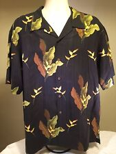 Tommy Bahama Black Hawaiian Floral Print Camp Button Shirt 100% Silk Size L EUC