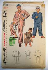 Vintage 1940's Little boy's child  2 piece pajama pattern 2548 size 8