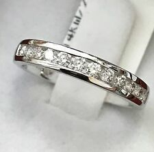 14k solid  white gold natural  diamond band ring 0.52 ct VS quality anniversary