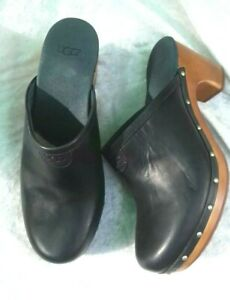 Ladies UGG New Black Leather Clogs Mules Fit UK Size 5