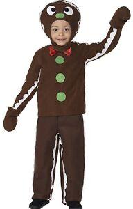 Kids Smiffys Gingerbread Man Costume Fancy Dress Up Halloween Size Age 4 - 6
