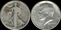 $1.00 Face Value: 1964 Kennedy & Walking Liberty Half  90% SILVER  'Junk' Coins