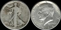 $1.00 Face: 1964 Kennedy & Walking Liberty Half 90% SILVER 'Circulated' Coins