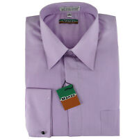 New Lilac cover button French cuff men's dress shirt long sleeve formal party