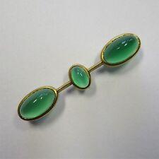 474 - Art Deco Brosche aus 585 Gelbgold mit grünem Achat