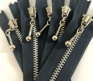 """Vintage Metal Zipper With #4.5 Decorative Ball Pull Silver Blue 5"""" L"""