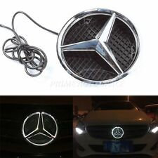 Front Grille LED Light Emblem Illuminated Badge White For Mercedes Benz 11-15