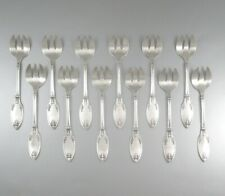Antique French Silver PlateOyster Forks, Empire Style, Saglier Frères, 12 pcs