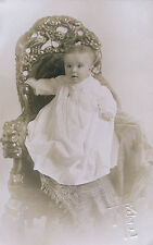 RPPC c1910 Baby in Belter Carved Chair Birds & Flowers Portland OR Postcard