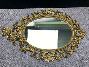 Vintage Large Burwood Products Gold Ornate Scroll Wall Hanging Mirror #4249