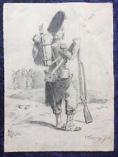 Dessin ancien Crayon Uniforme soldat XIX ème guerre 1870 signé Vaison Jules