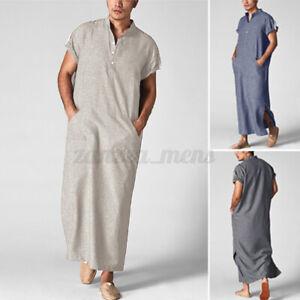 Mens Short Sleeve Saudi Arab Kaftan Islamic Jubba Abaya Thobe Kaftan Long Robe