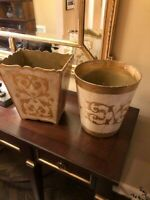 Vintage Made in Italy Decorative Trash Baskets Sold in Pair