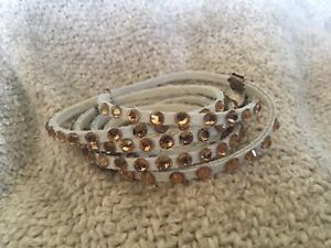 Swarovski Crystal And Leather Wrap Bracelet In White With Bronze Crystals