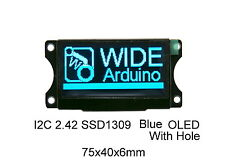 I2C 2.42 OLED 128x64  SSD1309 Graphic Blue Module Hole ( Arduino / PIC / ARM )