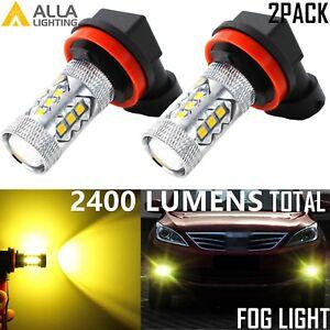Alla Lighting 2pcs 3000K H11 H8 Gold Yellow 3030 SMD LED Fog Driving Light Bulbs