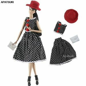"""Black Polka Clothes Set for 11.5"""" 1/6 Doll Outfits Fashion Dress Skirt Hat Purse"""