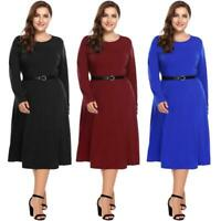 Women Casual Long Sleeve Solid O Neck Fit and Flare Belted Dress BE0R