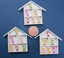 1:12 Scale 6 Assorted Clay Rabbit Children In Wooden Frame Dolls House Accessory