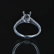 4x6mm Oval Cut Solid 14kt 585 White Gold Natural Diamond Semi Mount Ring