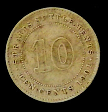 Straits Settlements Queen Victoria 10 Cents 1901 (VF)