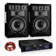 "PA DJ STUDIO SOUND MUSIK ANLAGE 12"" LAUTSPRECHER PAAR 19"" RACK ENDSTUFE 1200W"