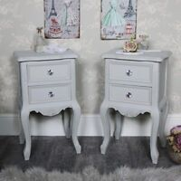 Pair grey bedside tables ornate vintage French chic bedroom furniture set of 2