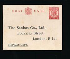 GB KG5 MEDICAL STATIONERY STO SANITAS CO LOCKSLEY STREET c1920 UNUSED 1d RATE