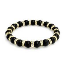 Black Onyx Ball Bead Stretch Bracelet Crystal Rondelle Gold Plated