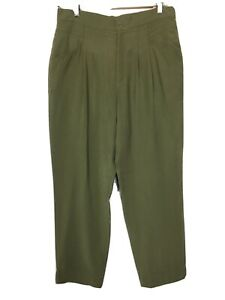 """OLIVER BONAS Size 12 Olive Green Soft Touch Trousers Pockets Inside Leg 26"""""""