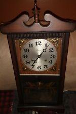 Vintage Antique Alaron 31-Day Regulator Wall Clock chime peacock deta Great Cond
