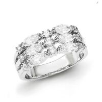 925 Sterling Silver Polished Rhodium Plated Marquise CZ Ring Band Size 6 - 8
