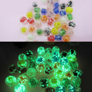 50 Glow In The Dark Beads Glass Luminous Round Lampwork 8mm Mix Color