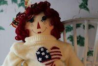 "Vintage 15"" Raggedy Ann Doll w/White Bench By Unicorn Merchandise Corp &USA sign"