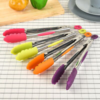 Silicone Cooking Salad Kitchen Serving BBQ Tongs Stainless Steel Handle Utensil