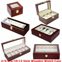 2/6/10/12/20 Grids Wooden Watch Display Case Case Storage Box Jewelry Organizer
