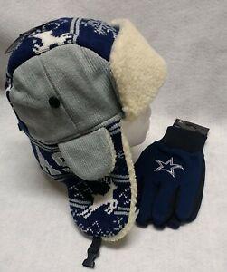 Dallas Cowboys  Licensed  Gloves &  Unlicensed Dallas  Fleece Trooper Hat  Combo