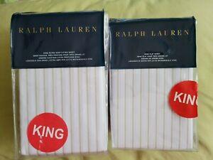 RALPH LAUREN PRESCOT Stripe KING deep FITTED & FLAT sheet VINTAGE SILVER WHITE