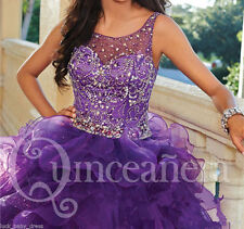 Beaded Sweet 16 Purple Quinceanera Dresses Sheer Ruffle 15 Year Prom Formal Gown