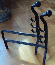 Gothic Wrought iron Fire Dogs,Medieval Revival Andirons,antique,Arts&Crafts