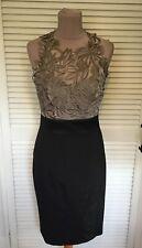 KAREN MILLEN RARE TAUPE ORGANZA TOP & BLACK FITTED SKIRT DRESS UK 12